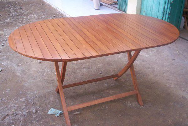 oval folding table 120x70 cm