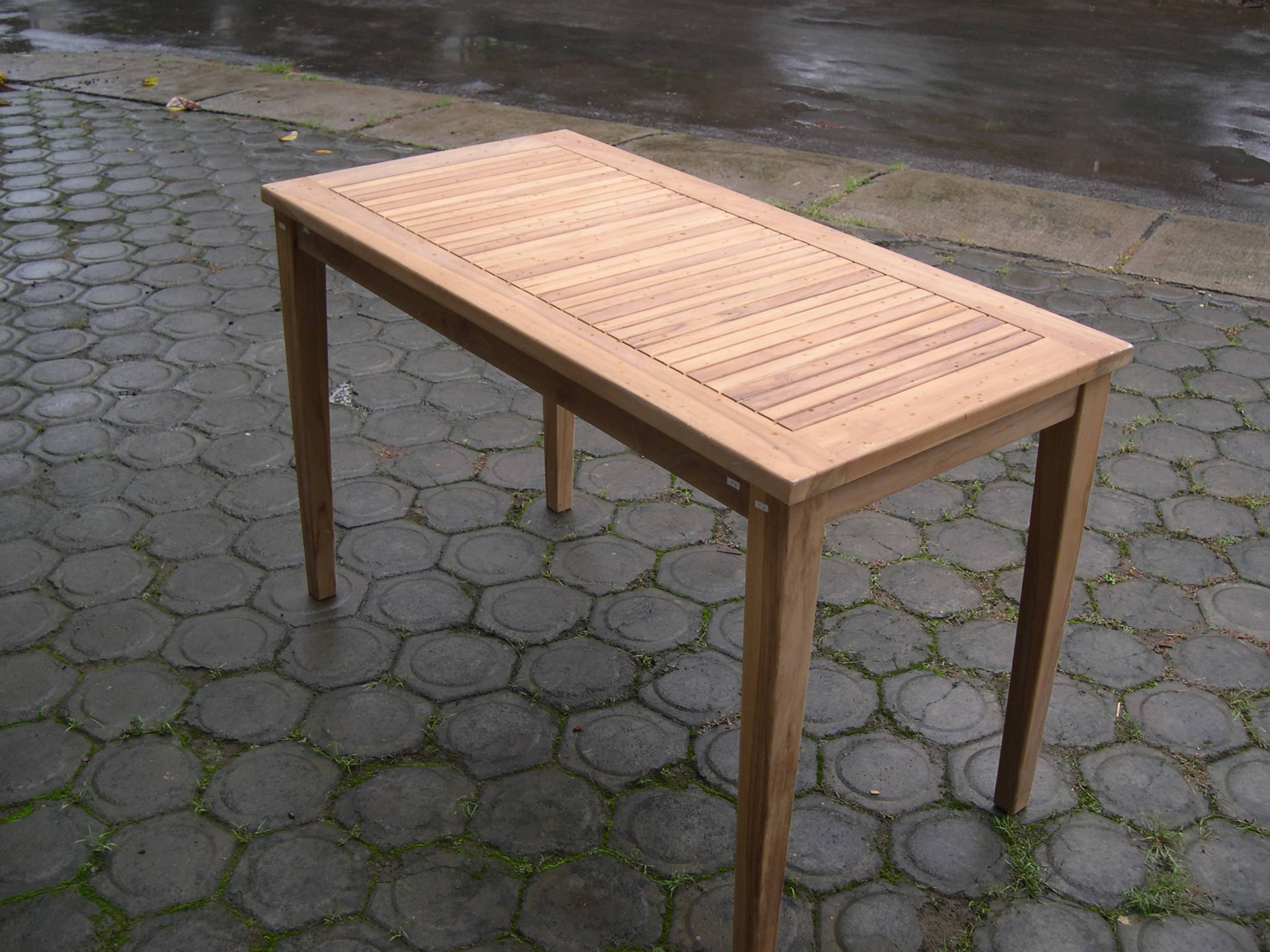 Rectangular bistro table 120 x 50 cm javanesiateak for Table carree 120 cm